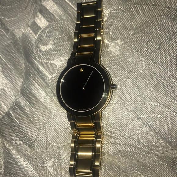 439b44ab186 Movado Black Dial Gold-tone Stainless Steel Watch
